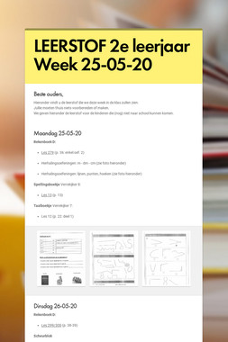 LEERSTOF 2e leerjaar Week 25-05-20