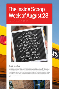 The Inside Scoop Week of August 28