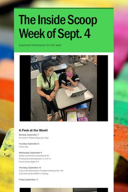 The Inside Scoop Week of Sept. 4