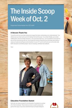 The Inside Scoop Week of Oct. 2