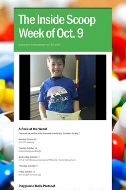 The Inside Scoop Week of Oct. 9