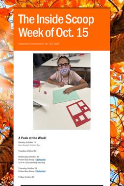 The Inside Scoop Week of Oct. 15