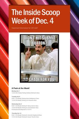 The Inside Scoop Week of Dec. 4