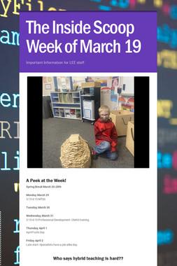 The Inside Scoop Week of March 19