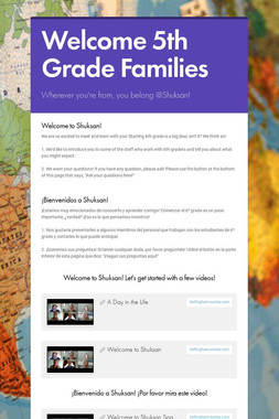 Welcome 5th Grade Families