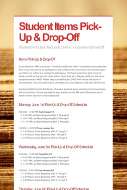 Student Items Pick-Up & Drop-Off