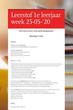 Leerstof 1e leerjaar week 25-05-'20