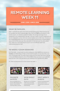 Remote Learning Week 11