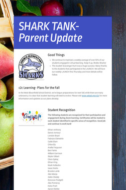 SHARK TANK- Parent Update