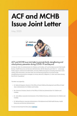 ACF and MCHB Issue Joint Letter