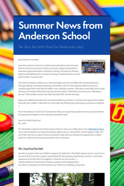 Summer News from Anderson School