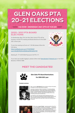 Glen Oaks PTA 20-21 Elections