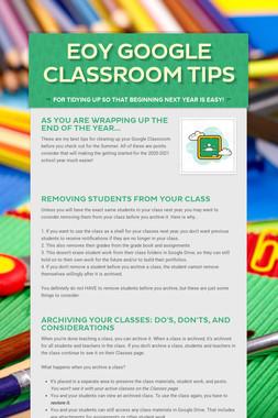EOY Google Classroom Tips