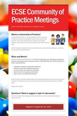 ECSE Community of Practice Meetings