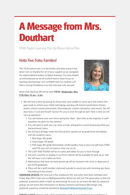 A Message from Mrs. Douthart