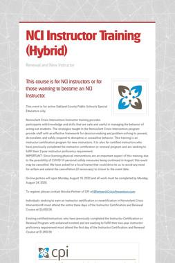 NCI Instructor Training (Hybrid)