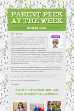 Parent Peek at the Week