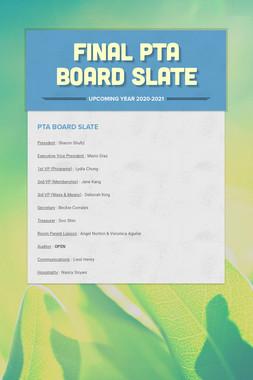 FINAL PTA Board Slate