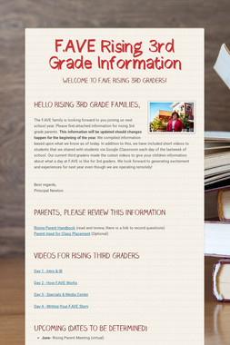 F.AVE Rising 3rd Grade Information