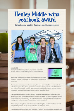 Henley Middle wins yearbook award