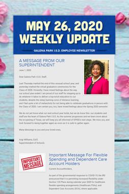 May 26, 2020    Weekly Update