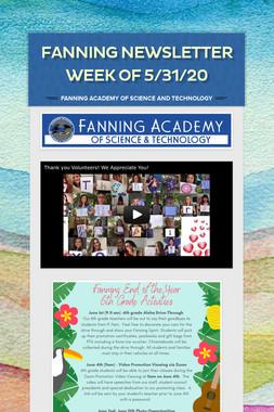 Fanning Newsletter Week of 5/31/20