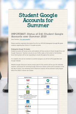 Student Google Accounts for Summer