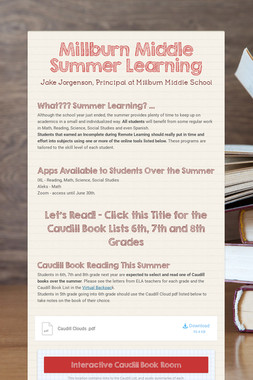 Millburn Middle Summer Learning
