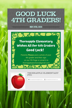 Good Luck 4th Graders!
