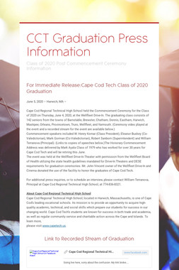 CCT Graduation Press Information