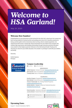 Welcome to HSA Garland!