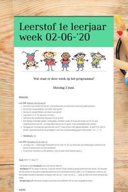 Leerstof 1e leerjaar week 02-06-'20