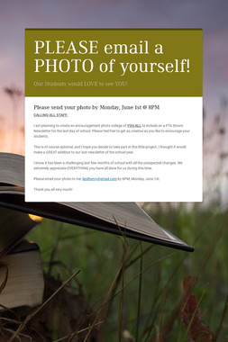PLEASE email a PHOTO of yourself!