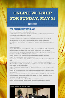 Online Worship for Sunday, May 31