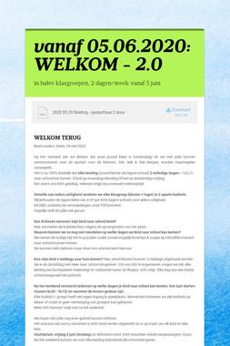 vanaf 05.06.2020: WELKOM - 2.0