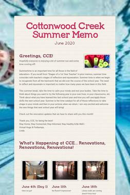 Cottonwood Creek Summer Memo