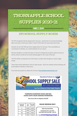 Thornapple School Supplies 2020-21