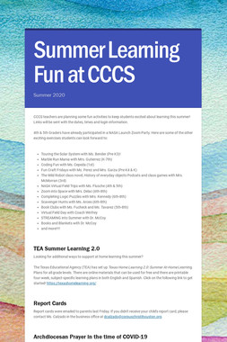 Summer Learning Fun at CCCS