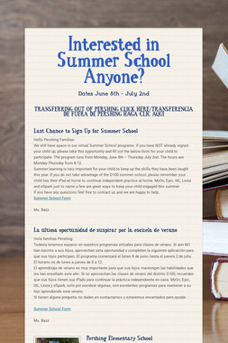 Interested in Summer School Anyone?