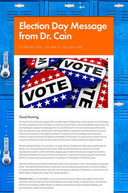 Election Day Message from Dr. Cain
