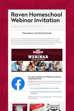 Raven Homeschool Webinar Invitation