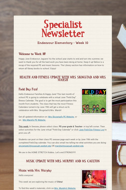 Specialist Newsletter
