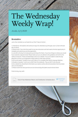 The Wednesday Weekly Wrap!