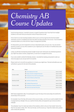 Chemistry AB Course Updates