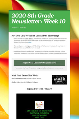 2020 8th Grade Newsletter: Week 10