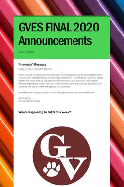 GVES FINAL 2020 Announcements