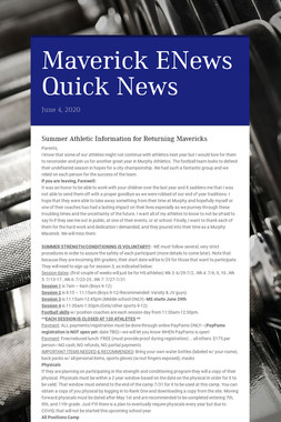 Maverick ENews Quick News