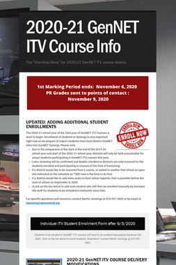 2020-21 GenNET ITV Course Info