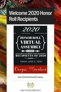 Welcome 2020 Honor Roll Recipients