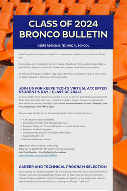 Class of 2024 Bronco Bulletin